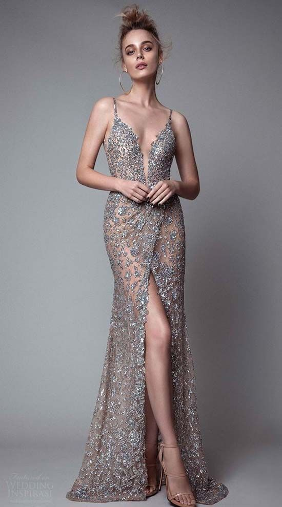 Sleeveless Deep v Neck Sheath Metallic Evening Dress…