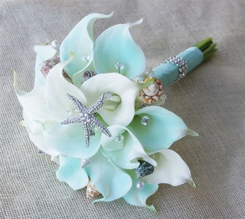 Natural Touch Mint Tiffany And Crystals Calla Lilies Seashells Bouquet Seashell BouquetSilk Bridal