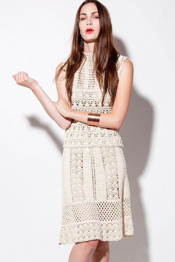 CROCHET FASHION TRENDS exclusive beige crochet by LecrochetArt, $490.00