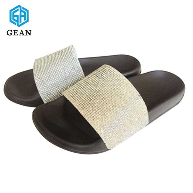 Wholesale women silver rhinestones Bling Bling Slide sandals