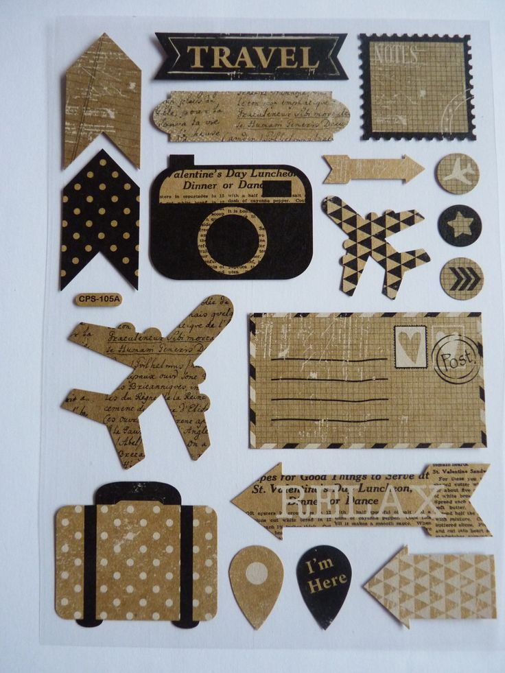 1 planche de stickers autocollants thème voyage réf. SVG parfaits scrapbooking, carterie, décoration agendas, cartes scrapbooking... : Papeterie, carterie par souvenirs-intemporels