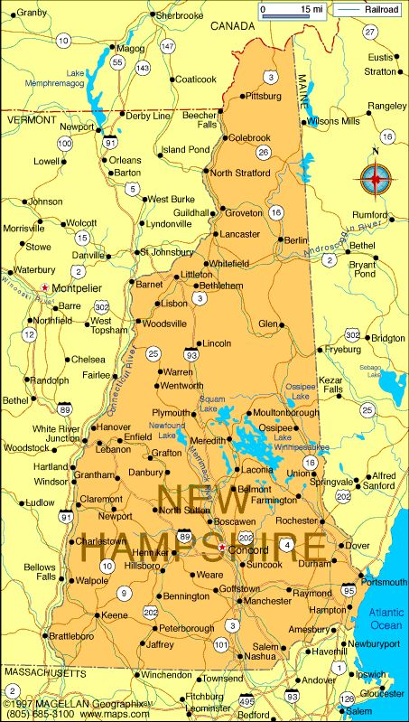 Map of New Hampshire-Capital: Concord; became a state: June 21,1788 ...