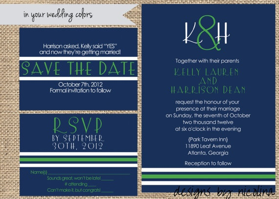 Preppy Stripe Save the Date Wedding Invite by designsbynicolina, $30.00: Inspirationctgc, Re Wedding