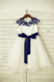 Princessly.com-K1000202-Navy Blue Lace Ivory Satin Organza Flower Girl Dress with navy sash-20