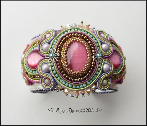 Soutache bracelet in pink turquoise green and gold by MiriamShimon