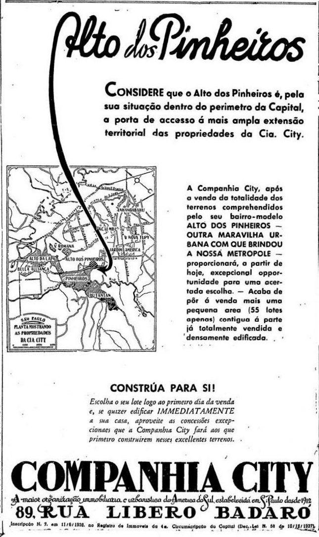 10 de março de 1940 - Anúncio da Companhia City. Alto de Pinheiros.