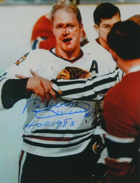 Bobby Hull Signed Blackhawks 'Blood' 11x14 Photo w/HOF 1983