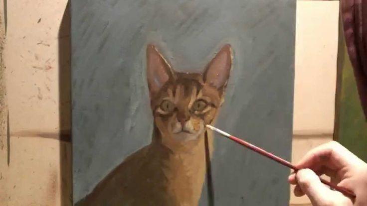 Mr. Cat oil on linen by Ortiz M.