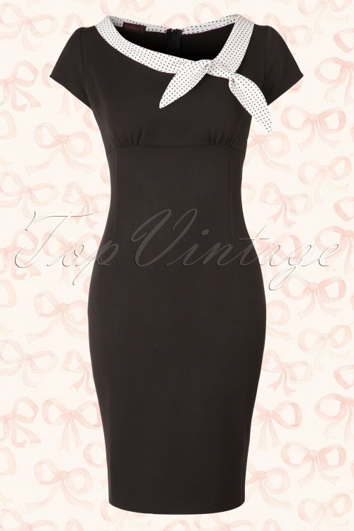 Hulahup - 50s Polka Bow Pencil Dress in Black