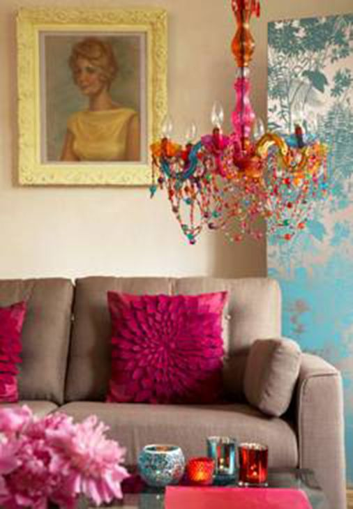 The Chandelier Throw Pillows That Painting I Love All Fun Bright Colors With A Grey Couch For Living Room