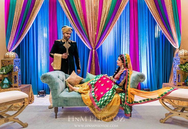 Mehndi Sangeet Dholki Stage Backdrop Indian Pakistani