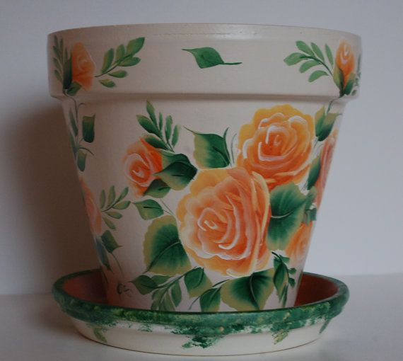 images of handpainted clay pots | Hand Painted clay flower pot One Stroke peach / orange roses design 8 ...