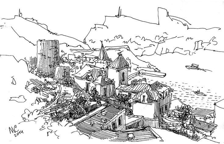 Севастополь, Балаклава, Скетч, рисунок, море, Генуэзские башни