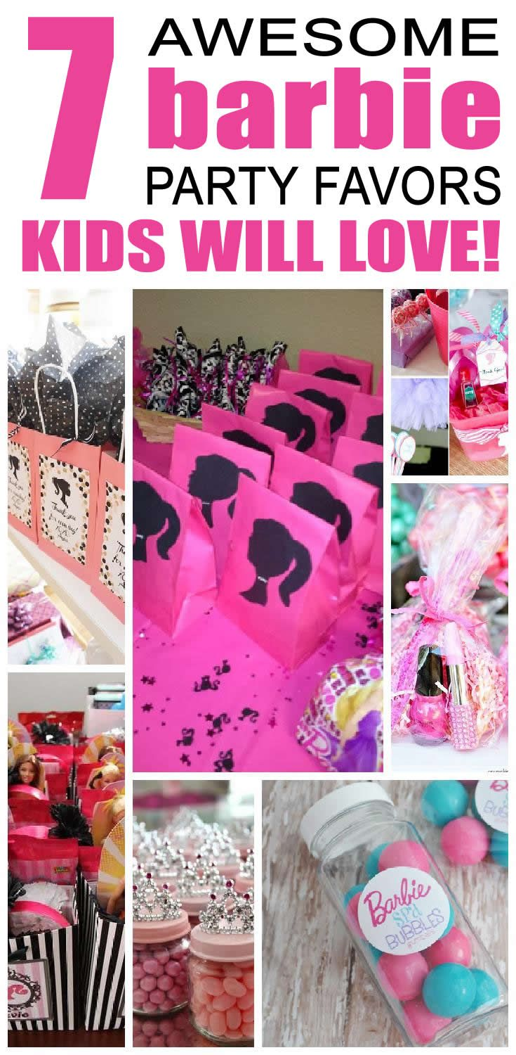 7 barbie party favor ideas for kids. Best barbie birthday party favor ideas for children.