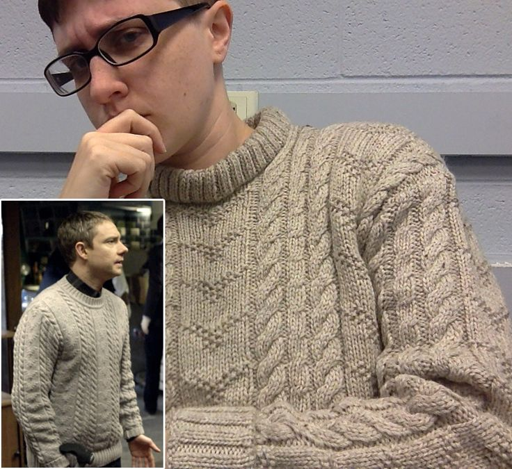 Free Knitting Pattern for Dr. Watson's Cabled Crew Neck Jumper - Amy Noelle Walker (MeldeBaggins on Ravelry) feplicates the cable sweater worn by John Watson in the Sherlock series. The pictured project is by adamsfrood42