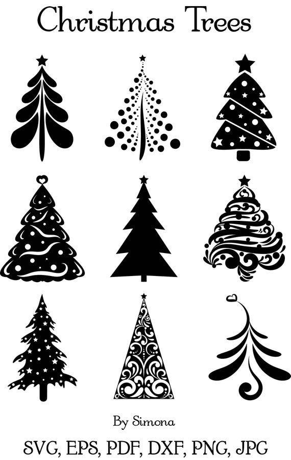 Christmas Trees Svg Png Etsy Christmas Tree Stencil Christmas Stencils Christmas Tattoo