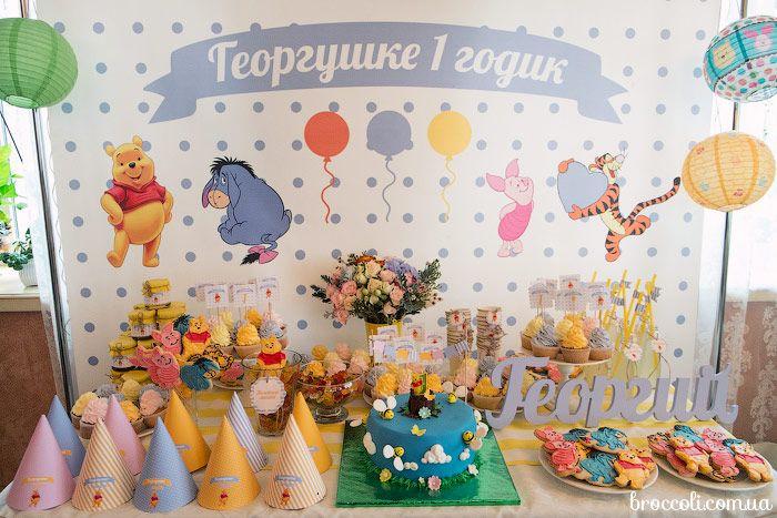 Оформление детского праздника в стиле Винни-пух кенди бар  детский день рождения