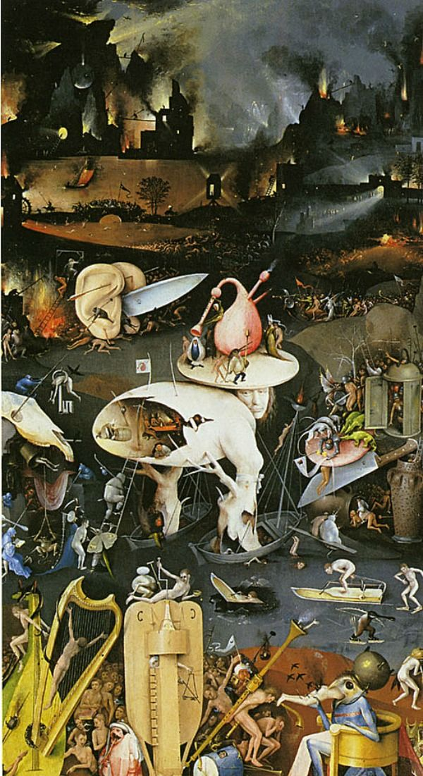 BOSCH Jheronimus - Dutch ('s-Hertogenbosch 1450-1516) - El jardín de las delicias. One of my favorite artists, known for being such a religious zealout; the world was all going to Hell.