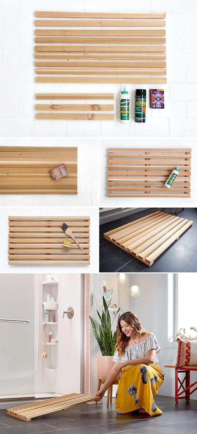 » MY DIY   Wooden Bath Mat & Bathroom Styling