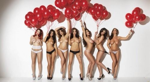 """kniteshadow: """"Lucy Collett, India Reynolds, Holly Peers, Rosie Jones, Lucy Pinder, Joey Fisher and Stacey Poole """""""