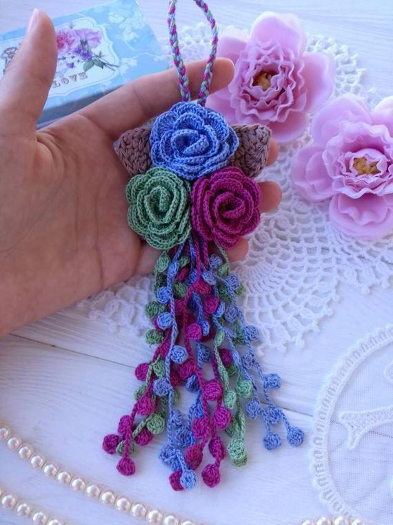Crochet Tassel Bag Tassel Lace Tassel Planner Tassel Door Tassel Flower Tassel Planner Tassel Crochet Rose Crochet Flower Patterns
