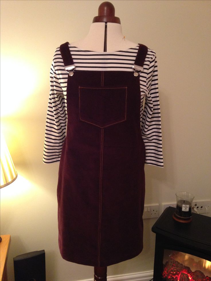 Cleo Dungaree dress by Tilly & the Buttons in aubergine baby cord
