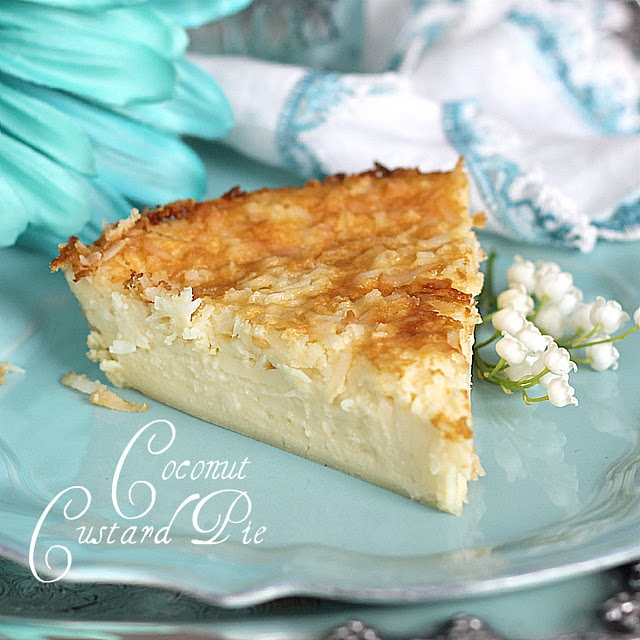 Super-easy, crustless coconut custard pie.