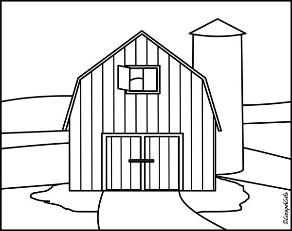 barnyard cartoon coloring pages | Black and White Cartoon Barn | Christian Clip Art ...