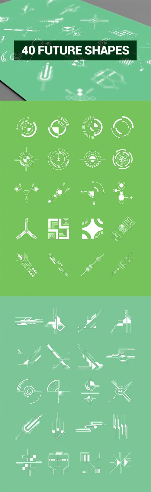 Vector Abstract Shapes – 40 Hi-Tech Shapes » Vector, PSD Templates, Stock Images, After Effects, Fonts, Web Design, Indesign