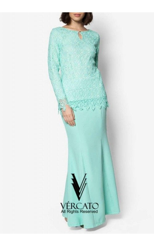 Baju Kurung Moden Lace with Keyhole - VERCATO Elsa in Mint Green