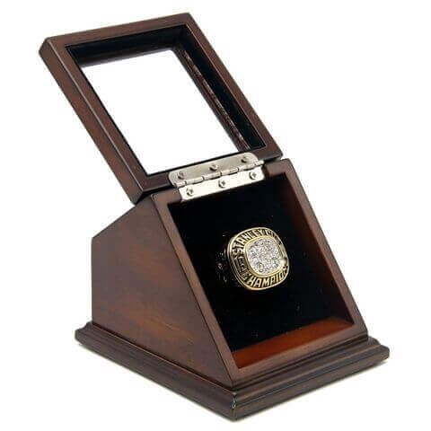 NHL 1988 Edmonton Oilers Stanley Cup Championship Replica Fan Ring with Wooden Display Case Box#oilers