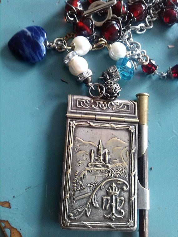 French Religious Antique French Assemblage necklace Carnet