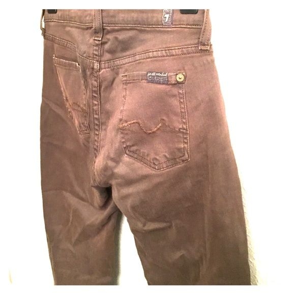 7 For All Mankind Brown skinny jeans Brown, ankle-length skinny jeans. VERY comfortable! 7 for all Mankind Jeans Ankle & Cropped
