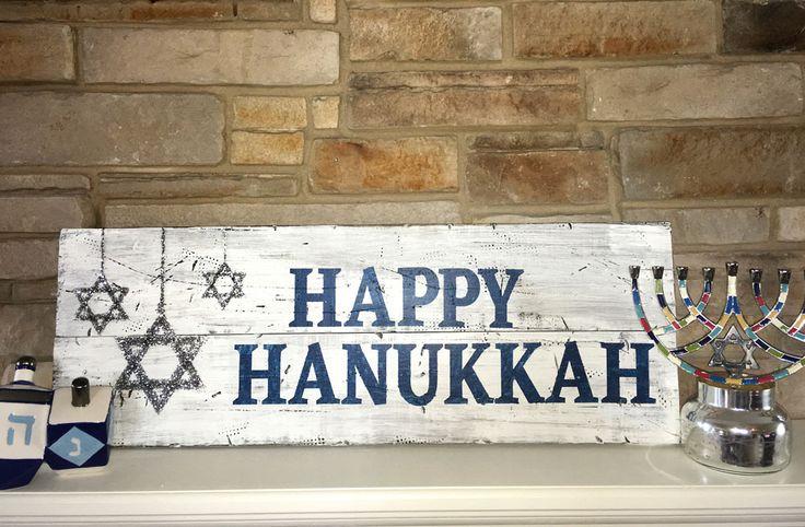 Board & Brush wooden Happy Hanukkah sign project. Follow Board & Brush-Little Rock, AR to learn more! https://boardandbrush.com/littlerock