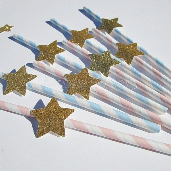 Gender reveal party with stars for Twinkle Twinkle Little Star theme event! Baby blue and pink striped straws are hand accented with your choice of glitter stars. A sparkling decoration for drinks or