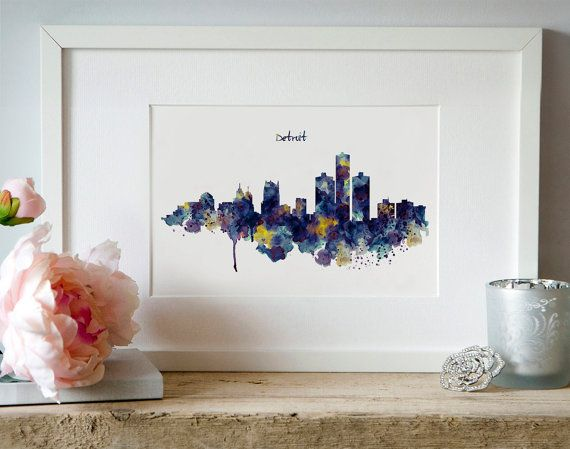 Detroit Skyline Silhouette Watercolor painting Wall by Artsyndrome