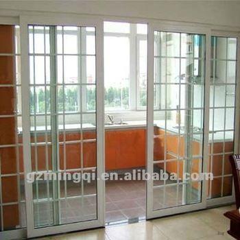 puerta de pvc / upvc con diseño de parrilla