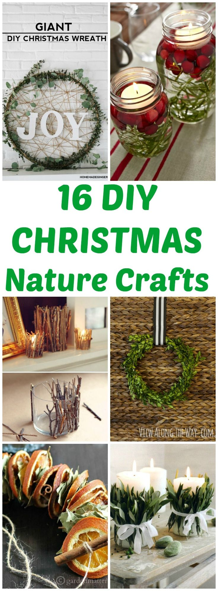 16 DIY Christmas rustic nature craft projects that are cheap, fast and easy! #diychristmas #christmas #naturecrafts #christmasdecor