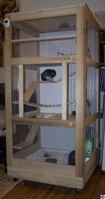 Wooden chinchilla cage- I want to diy this!!! I love the wooden suspension bridge                                                                                                                                                      Mais
