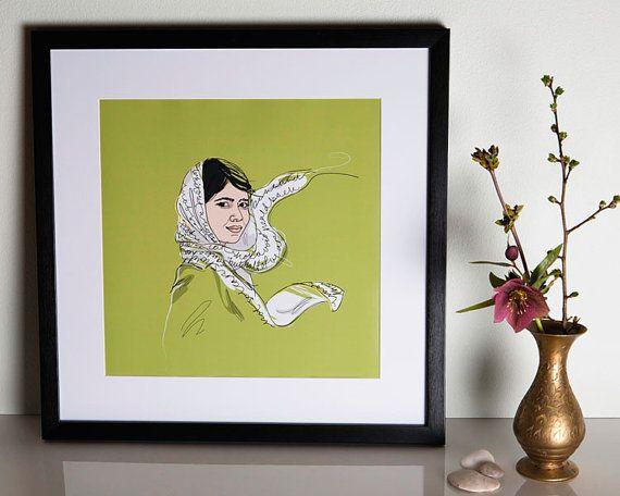 "Malala Yousafzai Poster 12x12"" on Etsy! By Christina Heitmann #MalalaYousafzai #Malala #Yousafzai #education #school #brave #hijab #hero #icon #feminist #feminism #feministicon #voice #children #childrensrights #womensrights"