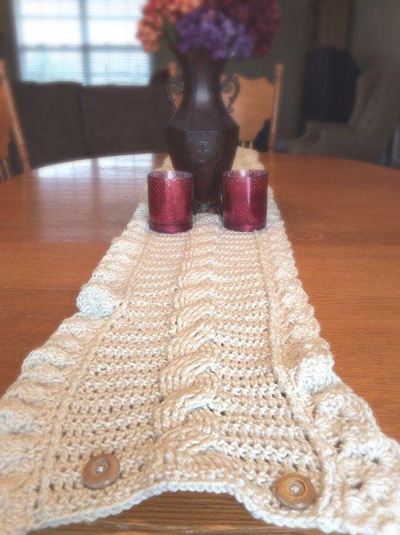 $65.00 Cream Table Runner Cream Crochet Table Runner White by LandOfKnots