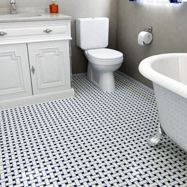 SomerTile 10.5x10.5-inch Victorian Basket Weave White and Cobalt Porcelain Mosaic Floor and Wall Til
