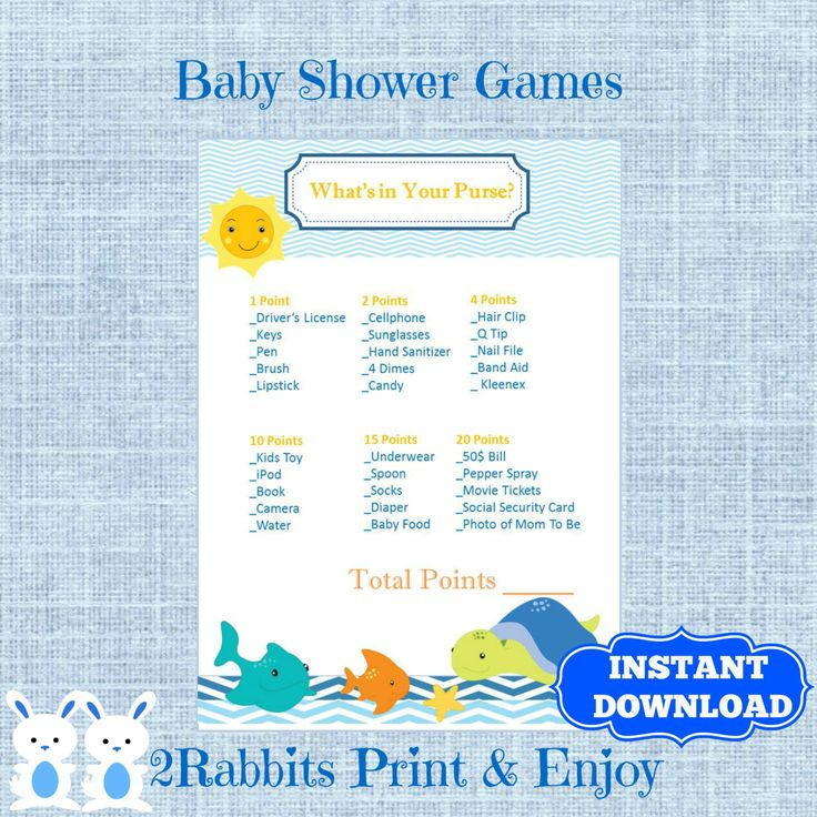 Under The Sea Themed Baby Shower Game :Whatu0027s In Your Purse Baby Shower Game ,