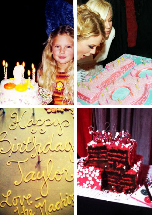 Taylor Swift of her birthday cakes through the years <3 Her birthday was yesterday and is getting older by the minute!!!!