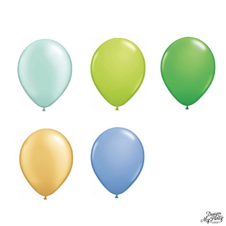 Periwinkle, Mint, Gold, Green, Blue Mix with 2 Confetti Balloons (12 Pack)