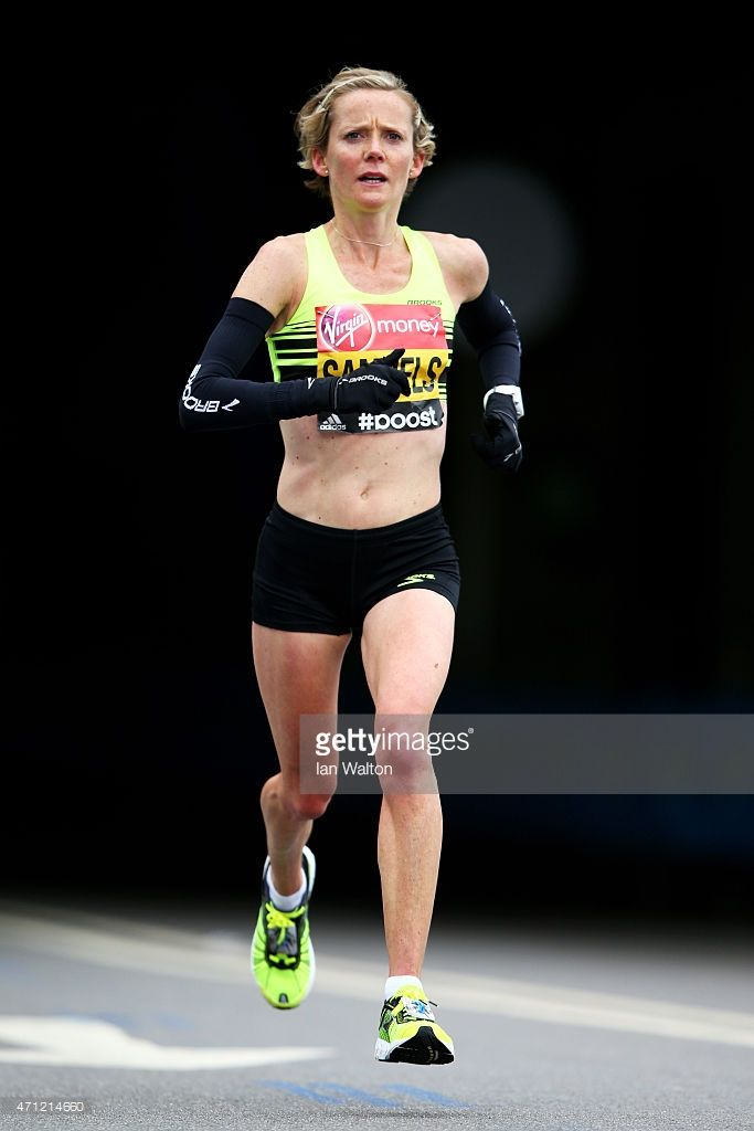 Sonia Samuels of great Britain competes during the Virgin Money London Marathon on April 26, 2015 in London, England.