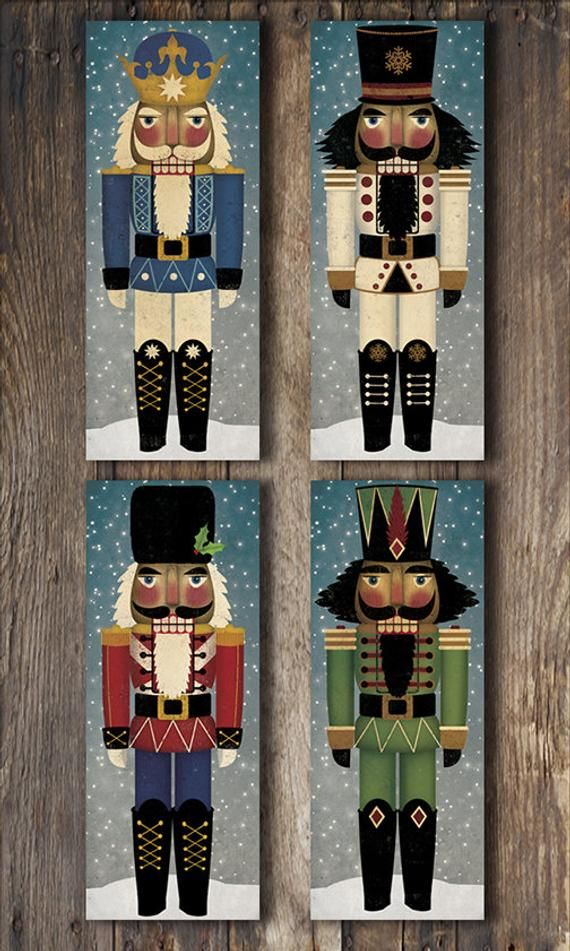 Nutcracker Stretched Canvas Wall Art Ready To Hang Signed Fowler Christmas Decor Christmas Paintings Christmas Art Nutcracker Christmas
