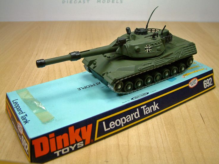 Dinky Toys 692, German Army Leopard Battle Tank. Part of a range of current military models Dinky made during the seventies. This diecast model was produced between 1974 and 1980.