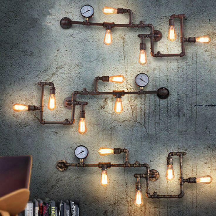 Cheap light bulb artwork, Buy Quality light smoking directly from China light bulbs 110v Suppliers: Vintage Loft wroguht iron Water pipe wall lamp