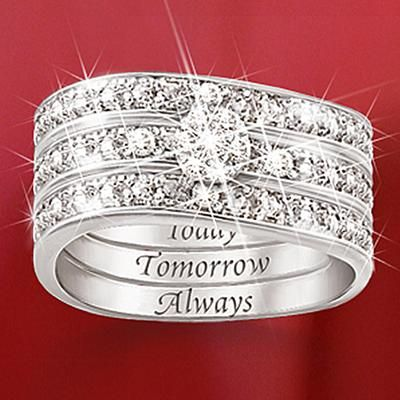 Gift Idea: Engraved Diamond Women's Three Band Ring: Hidden Message Of Love #pintowinGifts @giftsdotcom @Gifts.com